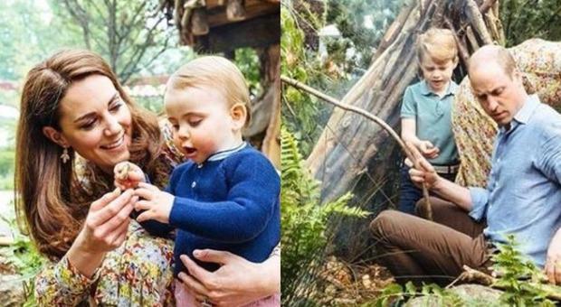 Kate e William, una famiglia felice con i figli al parco