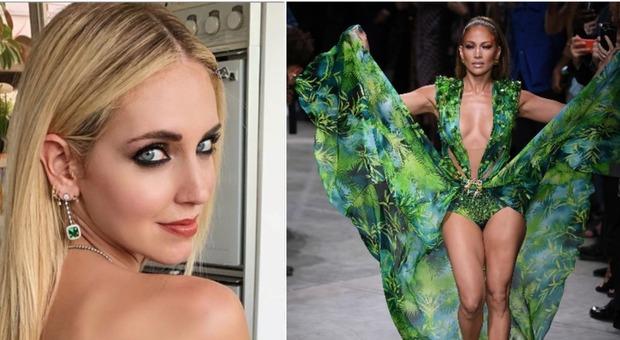 Jennifer Lopez sfila con l'abito Versace: Chiara Ferragni reagisce così