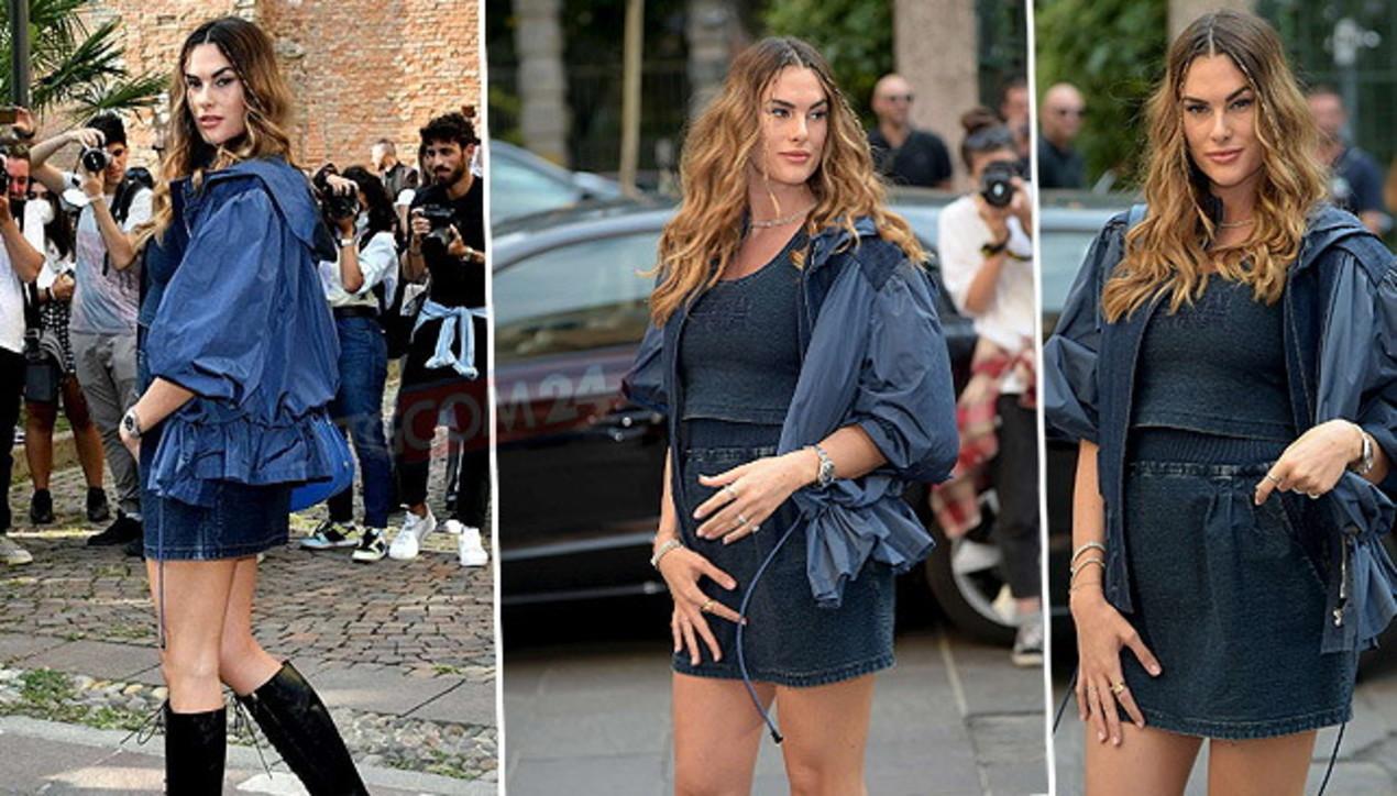 Francesca Sofia Novello alle sfilate milanesi, flash puntati sul pancione