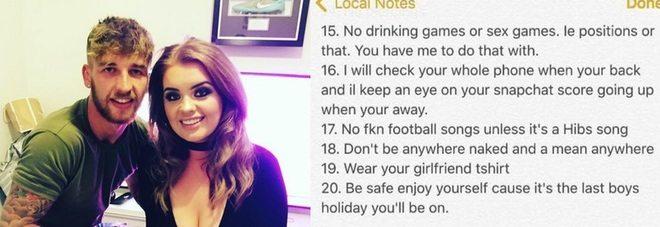Il fidanzato va a Ibiza, la milionaria gli scrive una lista di cose da non fare. Poi lo lascia