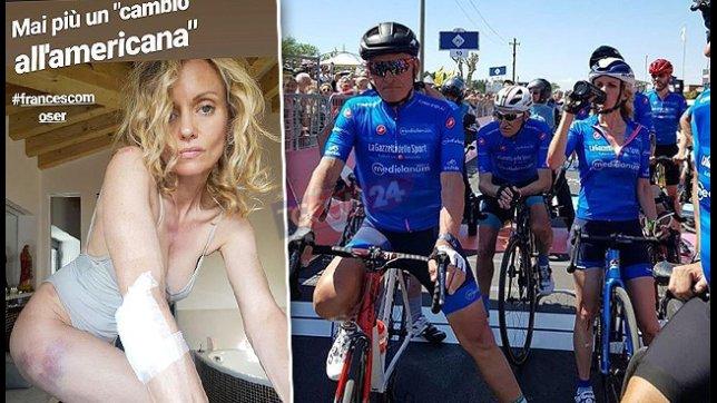 Justine Mattera, brutta caduta in bici con Moser
