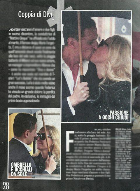 Federica Panicucci dopo l'addio a Fargetta: baci sotto l'ombrello con Marco Bacini