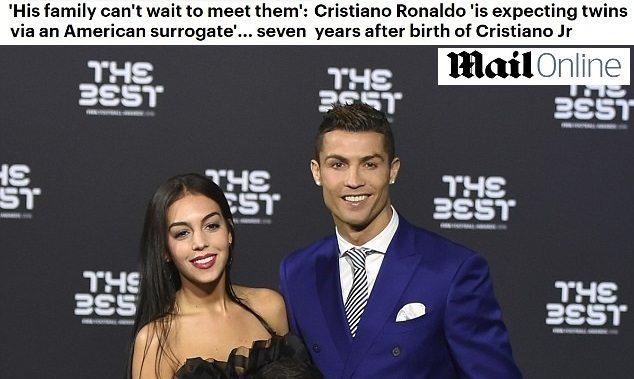 """Cristiano Ronaldo e Georgina aspettano due gemelli: """"Nasceranno con la maternità surrogata"""""""