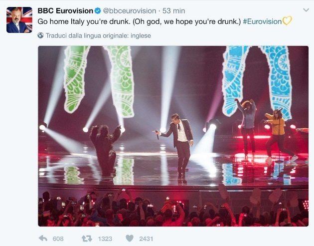 """""""Italia sei ubriaca"""", il tweet degli inglesi contro Gabbani. E gli italiani rispondono così"""