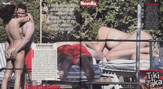 Laura Barriales, topless e coccole hot in piscina con il suo Fabio