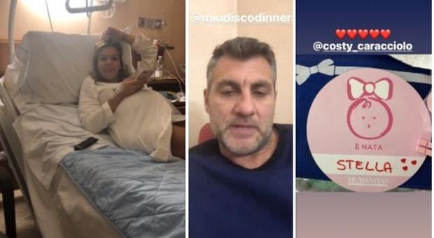 Costanza Caracciolo in clinica, Bobo Vieri resta con lei durante il parto: è nata la figlia Stella