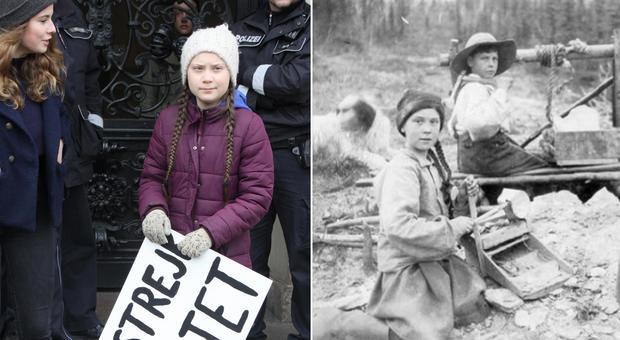 Greta Thunberg, la sosia in una foto di 120 anni fa scatena i complottisti.
