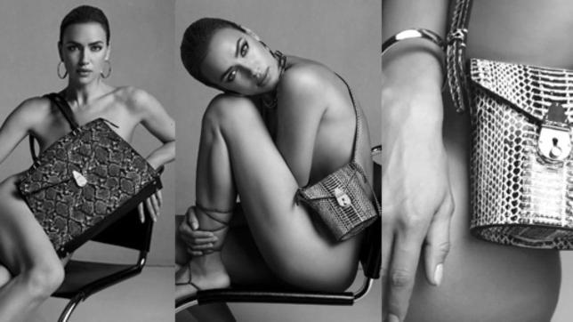 Irina Shayk copre l'inguine solo con la borsa