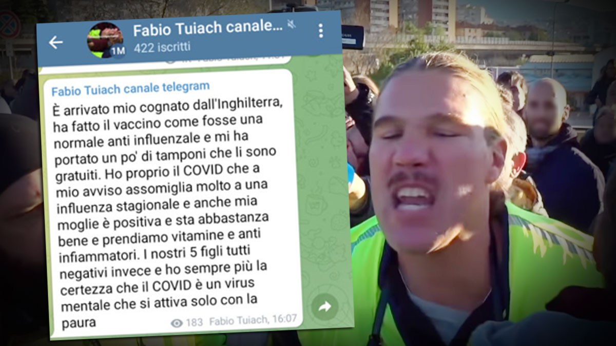 No Green pass, Tuiach positivo al Covid dopo la protesta a Trieste: «Colpa degli idranti, il virus è una truffa»