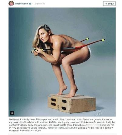 "Lindsey Vonn nvda: ""ci ho messo 31 anni per posare senza veli"""
