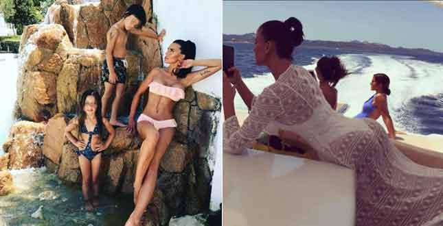 Claudia Galanti in Sardegna con i figli Liam Elijah e Tal Harlow… mamma che schianto!