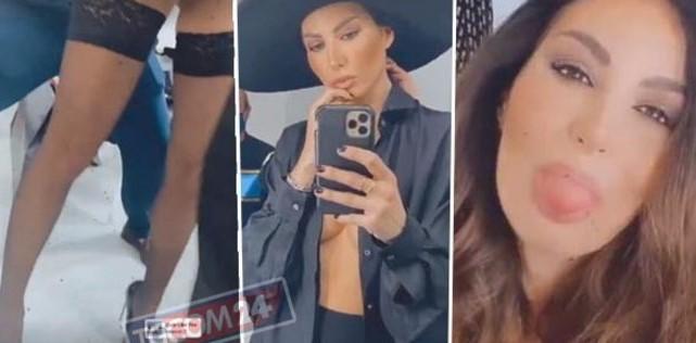Elisabetta Gregoraci in autoreggenti e senza reggiseno, shooting in versione sex bomb