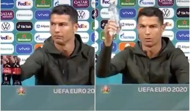 Cristiano Ronaldo sposta la Coca Cola dall'inquadratura: «Dovete bere acqua». E sui social è bufera