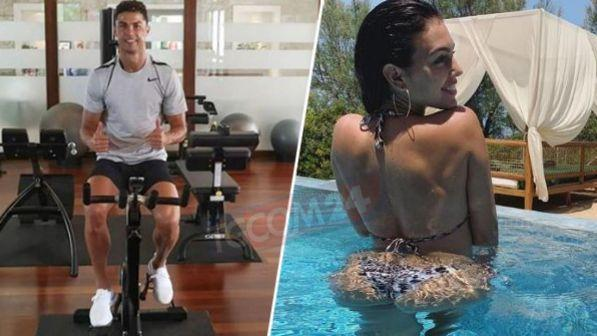 Cristiano Ronaldo in palestra, Georgina in piscina: weekend da brividi