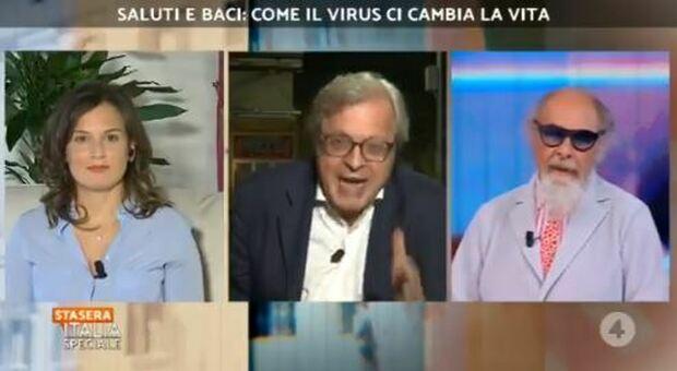 Vittorio Sgarbi contro Roberto D'Agostino, lite a Stasera Italia: «La mascherina? Mettitela nel cervello». «Se vuoi anche nel sedere»