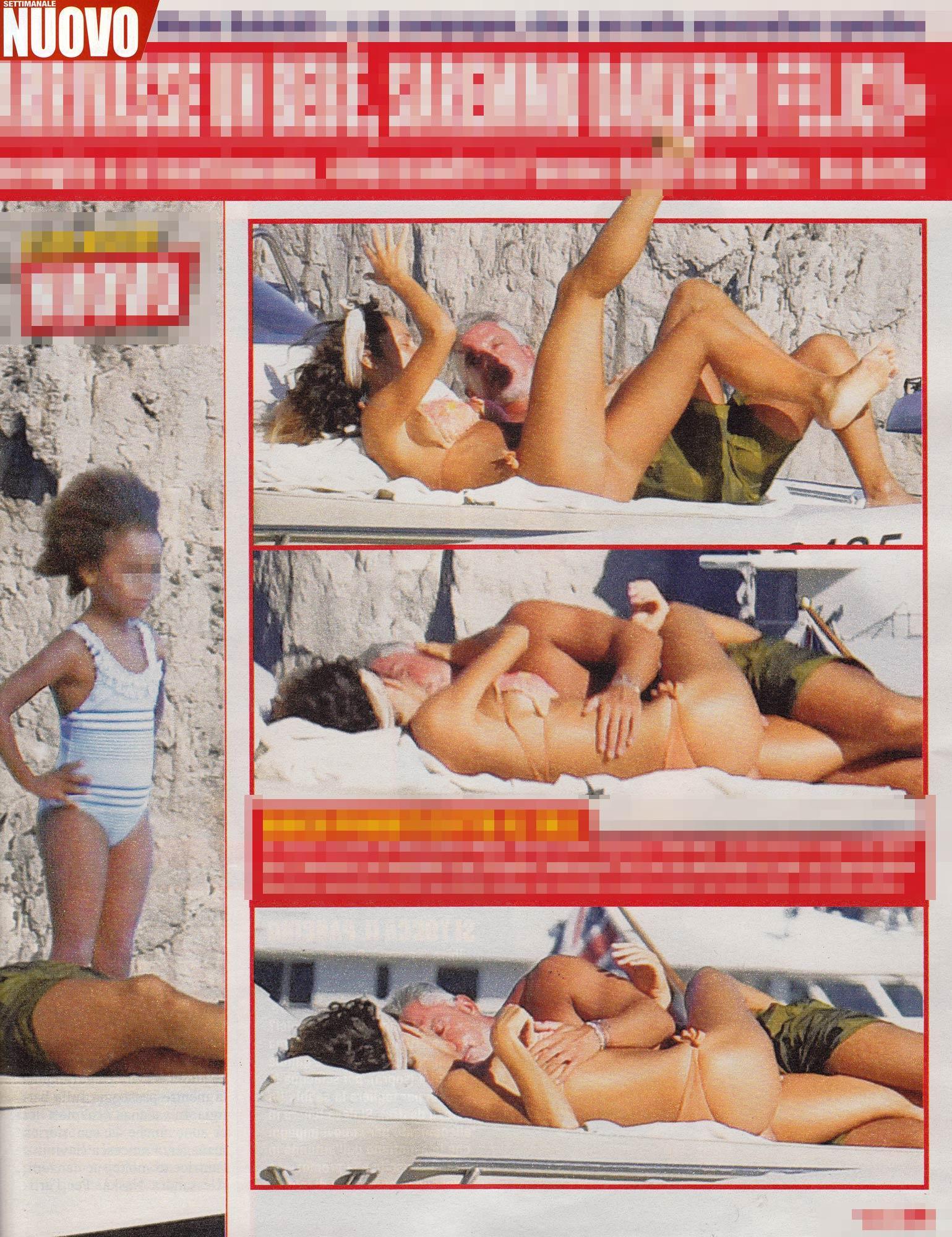 Raffaella Fico in bikini, palpatine e acrobazie hot con Moggi