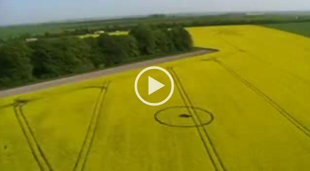 Video Ufo, ripresa aerea di una disegno sul grano