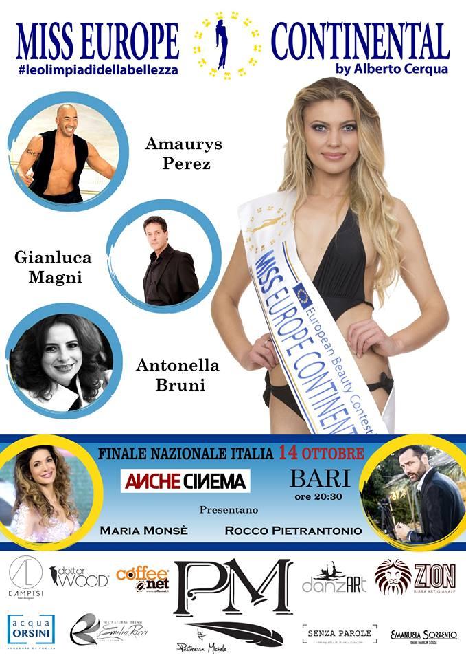 Miss Europe Continental 2017: Maria Monsè e Rocco Pietrantonio a Bari per la finale nazionale!