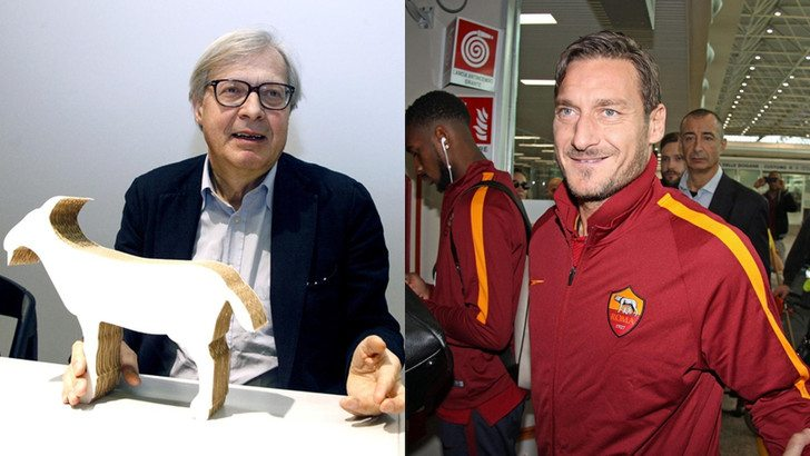 """Vittorio Sgarbi contro Francesco Totti: """"Ignorante"""". La bionda sullo sfondo """"sviene"""""""