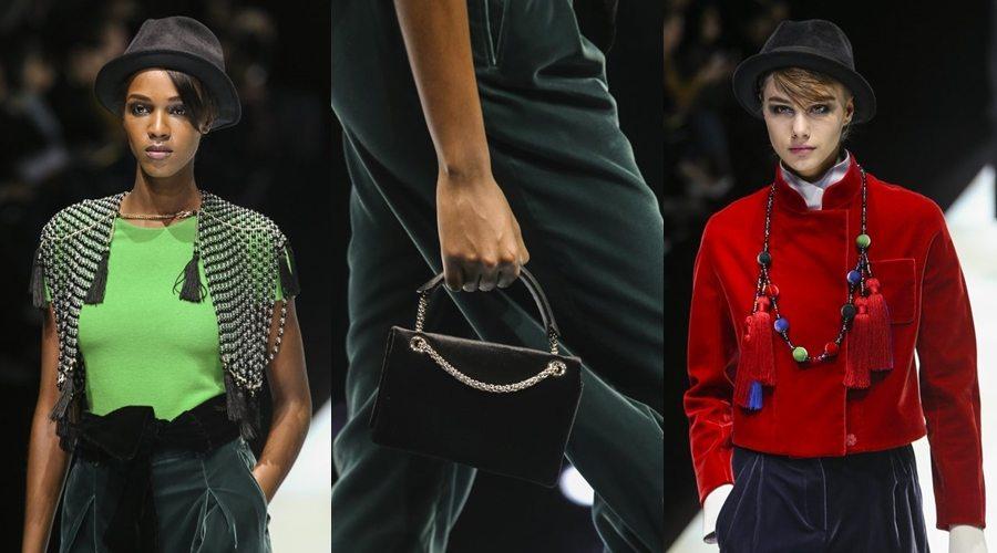 Milano Fashion Week, Giorgio Armani a Milano sceglie la gonna pantaloni: c'è anche Linsdey Vonn