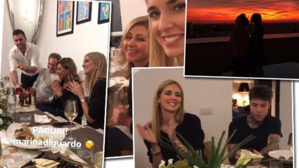 Fedez e Chiara Ferragni incinta tornano a Milano, festa in famiglia