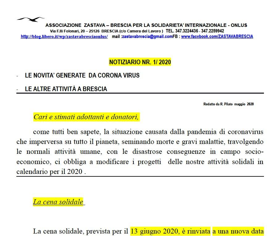 Notiziario Zastava nr.1-2020